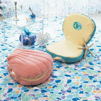 【Disney】ディズニーシェル型ミニ座椅子「ブルー」