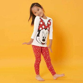 【Disney】ディズニーあったか綿混インナー・長袖&レギンス上下セットキッズ「ミッキーマウス」