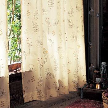 プリントUVカット・遮像ボイルカーテン「チップ&デール」 「アイボリー」