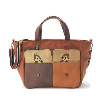 ひょっこりフラップポケット付き2WAYトートバッグ「チップ&デール」 「キャメルブラウン」 ◇ ベルメゾン バッグ カバン かばん レディース 女性 鞄 トート 手提げ 手さげ ◇