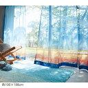 ベルメゾン 朝焼けの空を映したボイルカーテン ◆約100×1