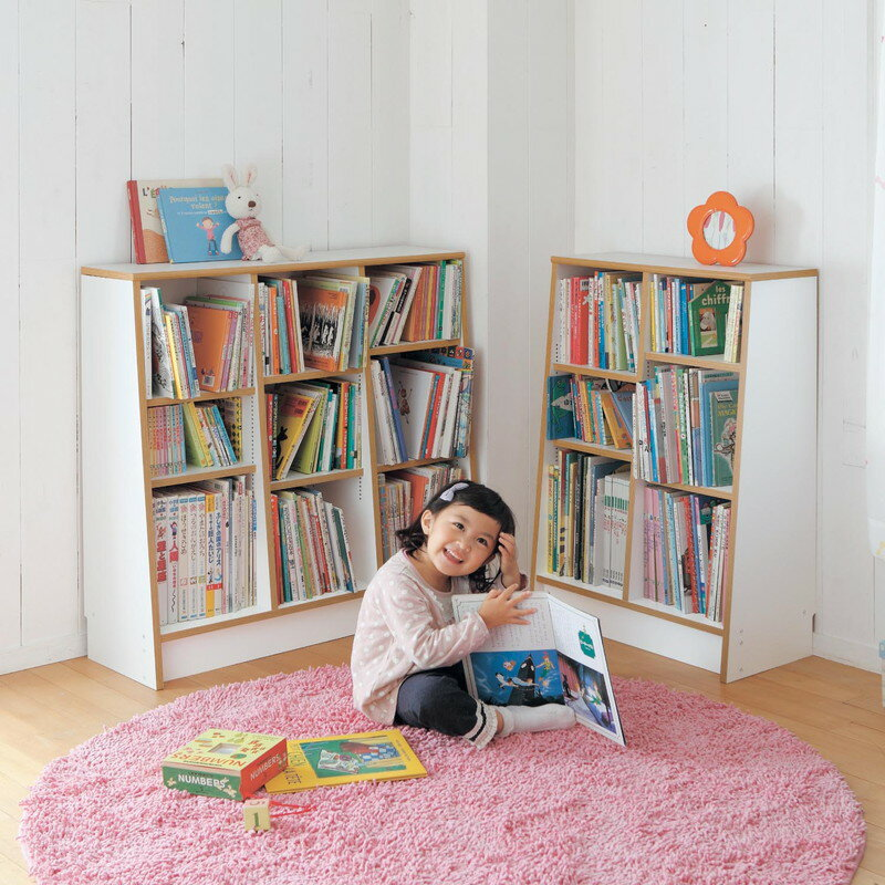 1cmピッチ絵本本棚「ホワイト」◆B/89×90D/60×115(幅×高さ(cm))◆◇子供子供用家具収納キッズ収納おもちゃ絵本収納棚ラック整理こどもツボミファニチャー◇