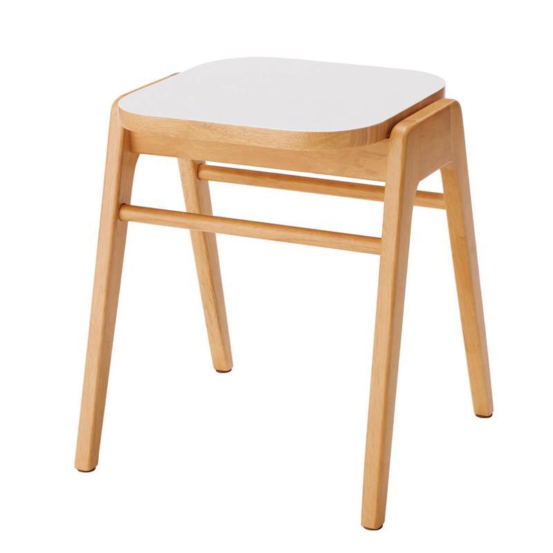 ベルメゾン 角が丸いスタッキングスツール 「 ホワイト×ナチュラル 」 ◇ 家具 収納 椅子 チェア いす スツール BELLE MAISON DAYS ◇