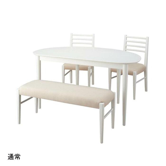 変形型ダイニング4点セット 「ホワイト」 ◆ ★通常 ◆ ◇ 家具 収納 ダイニング テーブル セット 椅子 イス チェア ベンチ 食卓 ◇