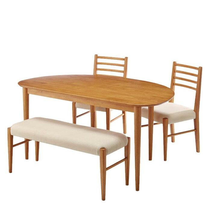 変形型ダイニング4点セット 「 ナチュラル 」 ◆ 通常 ◆ ◇ 家具 収納 ダイニング テーブル セット 椅子 イス チェア ベンチ 食卓 北欧 おしゃれ ◇