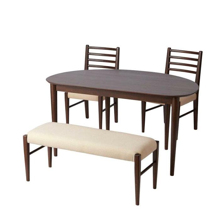 変形型ダイニング4点セット 「ダークブラウン」 ◆ 通常 ◆ ◇ 家具 収納 ダイニング テーブル セット 椅子 イス チェア ベンチ 食卓 ◇