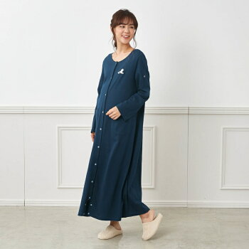 【BELLEMAISON】ベルメゾン授乳対応マタニティワンピースパジャマ【入院準備産前産後】「杢チャコール×オフホワイトボーダー」◆マタニティM〜L◆