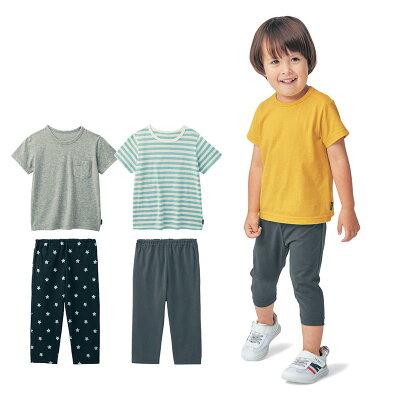 半袖 Tシャツ 3枚 & 七分丈 パンツ 3枚セット 「 男の子セット 」 ◆ 80 90 100 110 120 130 ◆◇