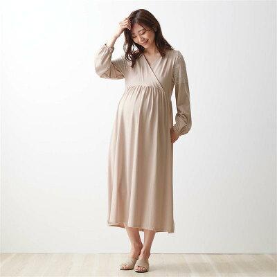 産後授乳にも便利!マタニティサイズ カップ付き レース使い カシュクールドレス ワンピ パジャマ