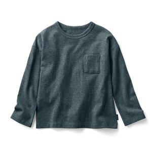 【ベルメゾン】 シンプルおしゃれな胸ポケット 長袖 Tシャツ 「杢チャコール」 ◆ 140 150 160 ◇ 子供服 キッズ ボーイズ 男の子 ガールズ 女の子 通学 学校