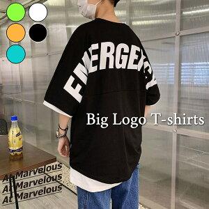 【送料無料】 ビッグTシャツ メンズ ストリートファッション バックロゴ ラウンドカット 半袖 トップス