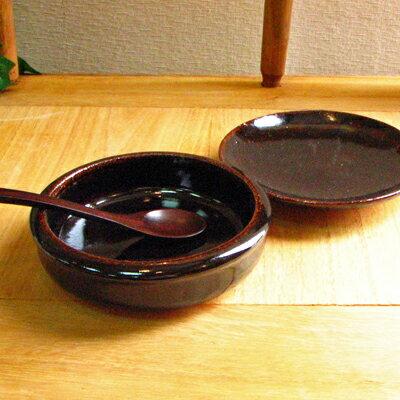伊賀焼 土楽窯 アメ釉グラタン皿6寸