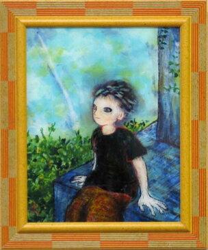 風鈴丸の額付きガラス絵 少年は塔の上 2003年