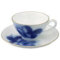 大倉陶園ブルーローズティー碗皿(カップ&ソーサー)【大倉陶園】【OKURA】【磁器】【ブルーローズ】【紅茶】【ハーブティー】【カップ&ソーサー】【コーヒー】【薔薇】【バラ】
