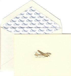 CRANE & Co. クレイン ノートカード&封筒セット(1セット入)ヴィンテージ エアプレイン(飛行機)