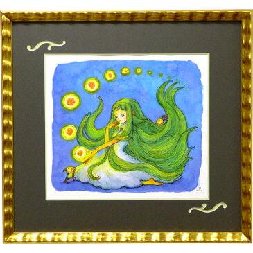 風鈴丸の額付きアクリル画 『星あそび』 2014年