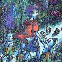 風鈴丸 額付き木版画 森へ帰る 1998年