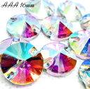 ガラスビジュー ガラスストーン 高輝度ビジュー ソーオン ソーオンビジュー 丸型 クリスタルオーロラ 衣装パーツ 16mm AAA crystalAB 10粒 縫い付けビ