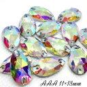 ガラスビジュー ガラスストーン 高輝度ビジュー ソーオン ソーオンビジュー 雫型 クリスタルオーロラ 衣装パーツ 11×18mm AAA crystalAB 14粒 縫い付