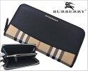 バーバリーBURBERRY長財布ラウンドファスナーロングウォレットホースフェリーチェック/ブラックxキャメル小銭入れ付き4024977