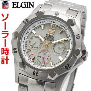 エルジン ELGIN ソーラー ダイバー腕時計 チタン(チタニウム)製 マルチカレンダー 20気圧防水 太陽電池 蓄光文字盤 メンズ 男性用 エルジン FK1424TI-BR