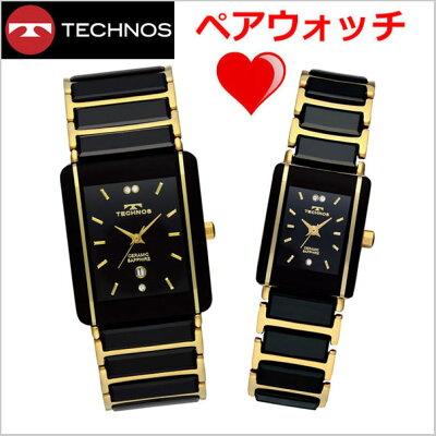 【テクノス】TECHNOS腕時計ペアウォッチメンズ&レディースセラミック&ステンレススチール製TSM903GB-TSL906GB【送料無料】