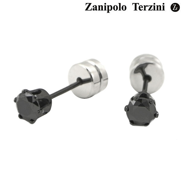 Zanipolo Terzini(ザニポロ・タルツィーニ)サージカルステンレス製ピアス ブラックジルコニア ZTE3645-BK(2個/両耳用)