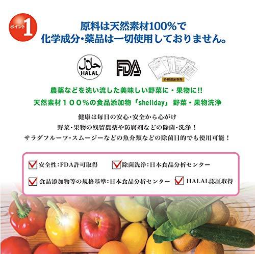 シェルデイ野菜洗剤野菜の内側まで除菌洗浄純度を高めたイオン化カルシウム野菜果物洗浄150g【約150回分】1回3振りカル