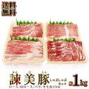 送料無料 豚肉 しゃぶしゃぶ 長崎ブランド豚 諫美豚 かんびとん 食べ比べ しゃぶしゃぶセット 1kg (冷凍) 便利な小分けセット