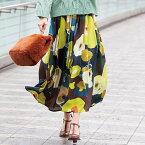 ●アウトレット●フレアースカート M LL L 3L大胆花柄マキシスカート ベルーナ 30代 40代 ファッション レディース ボトムス レディース 秋冬 ファッション スカート 在庫処分 アウトレットタイムセール