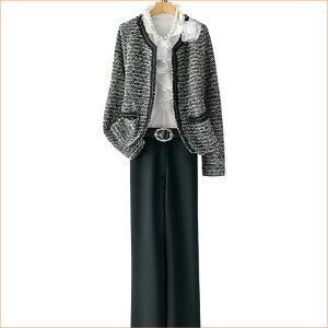 ≪2015秋新着≫ファンシー調ニット素材4点セットスーツ(M〜LL) ベルーナ 【ミセス 40…