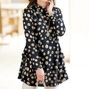 フレアーデザインドットプリントプルオーバー ベルーナ レディース ファッション