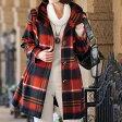 フーテッド衿ブロックチェック柄コート ベルーナ【40代 50代 60代 レディース ミセス ファッション】【再販売】