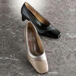 ワイズ4eパンプスヒール4E牛革切替フォーマルパンプスベルーナ40代50代60代レディースミセスファッション