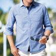 涼やか綿麻素材大人シャツ 7分袖(M〜LL) ベルーナ べるーな 40代 50代 60代 メンズ 紳士 男性 ファッション 綿 夏