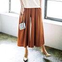 ワイドパンツ ドレープガウチョパンツ(3L?5L) ベルーナ らなん ラナン Ranan 30代 40代 ファッション レディースボトムス パンツ ロング丈 夏 フルレングス 大きいサイズ