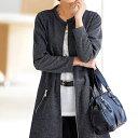 ジッパー使いロング丈ジャケット(3L?5L) ベルーナ 40代 50代 60代 レディース ミセス ファッション 大きいサイズ 秋 冬 あったか 裏起毛