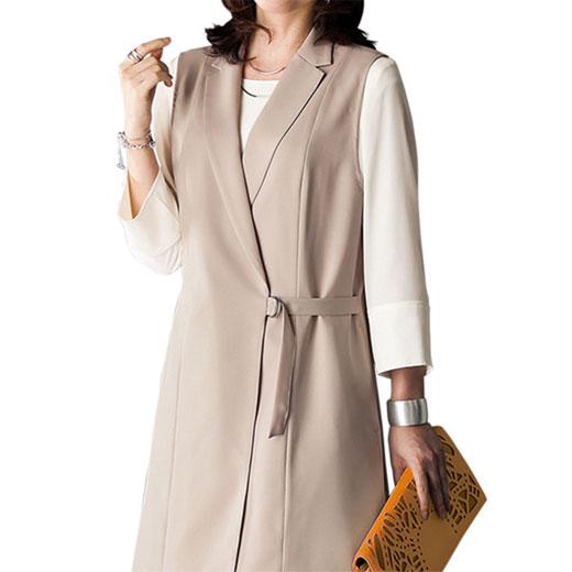 f14c615a545eb ベスト&ブラウスアンサンブル<アルジャーニ>(3L~5L) ベルーナ ルフラン 40代 50代 60代 レディース 女性 ミセス ファッション  大きいサイズ 2018春新着