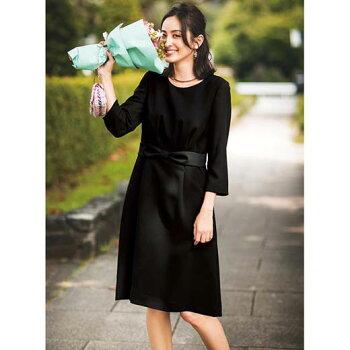 ブラックフォーマル9号7号13号11号洗える!フォーマルウエストリボンワンピ(7号〜13号)ベルーナラナンRanan30代40代ファッションレディース