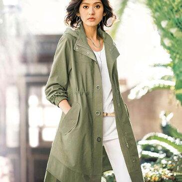 ハーフコート 夏 5L 4L 3Lサイズ 綿麻素材ロング丈マウンテンパーカー(3L〜5L) ベルーナ Belluna 40代 50代 60代 レディース 女性 ミセス ファッション 大きいサイズ
