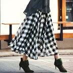 フレアースカート 5L 4L 3L ギンガムチェックマキシスカート(3L〜5L) ベルーナ ラナン Ranan 秋冬 秋服 30代 40代 ファッション レディース 大きいサイズ