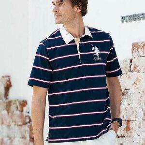 シャツ S M LL L 3L<ユーエス ポロ アッスン>ラガーシャツ ベルーナ 40代 50代 60代 メンズ 男性 紳士 ファッション 夏服 シャツ トップス 小さいサイズ 【在庫残りわずか】