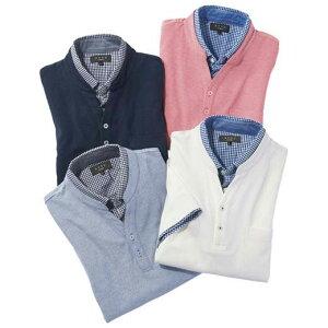 ポロシャツ S M LL L 3Lダブルカラーポロシャツ ベルーナ 40代 50代 60代 メンズ 男性 紳士 ファッション 夏服 シャツ 小さいサイズ