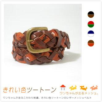 『 Tricote-트리 코 테-』 강아지를 달리 엄선 바느질, 소재 감 좋은 가죽, 예쁜 색 투 톤 메쉬 벨트