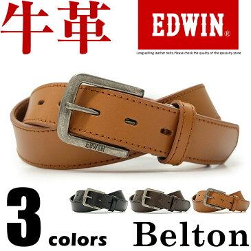 エドウィン EDWIN ベルト カジュアル メンズ 本革 ブランドロゴ ブラック/ダークブラウン/ブラウン 幅30mm 0110937
