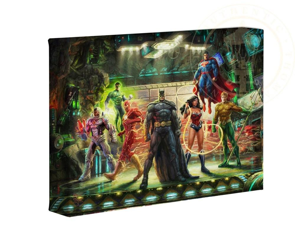 【取寄せ】 DCコミックス スーパーヒーロー ジャスティスリーグ 大きさ 40.6cm x 60.9cm 絵画 絵 アート キャンバス インテリア 装飾 デザイン 壁 Thomas Kinkade トーマスキンケード [並行輸入品] Thomas Kinkade Studios DC Super Hero Fine Art The Justice League 1画像