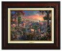 【取寄せ】 ディズニー Disney わんわん物語 レディ トランプ 絵画 絵 アート キャンバス インテリア 装飾 デザイン 壁 額付き フレーム付き (Burl Frame) Thomas Kinkade トーマスキンケード [並行輸入品] Thomas Kinkade Lady and the Tramp - Canvas Classic (Burl F