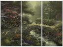 """【取寄せ】 風景 景色 自然 大きさ 91.4cm x 40.6cm 絵画 絵 アート キャンバス インテリア 装飾 デザイン 壁 Thomas Kinkade トーマスキンケード [並行輸入品] Thomas Kinkade Bridge of Faith - 36"""" x 16"""" (Set of 3 Panels) Triptych Giclee Canvas (Set of Three)"""