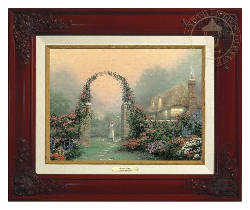 【取寄せ】 風景 景色 自然 絵画 絵 アート キャンバス インテリア 装飾 デザイン 壁 額付き フレーム付き (Brandy Frame) Thomas Kinkade トーマスキンケード 風景画 [並行輸入品] Thomas Kinkade The Rose Arbor Cottage - Canvas Classic (Brandy Frame) グッズ スト画像