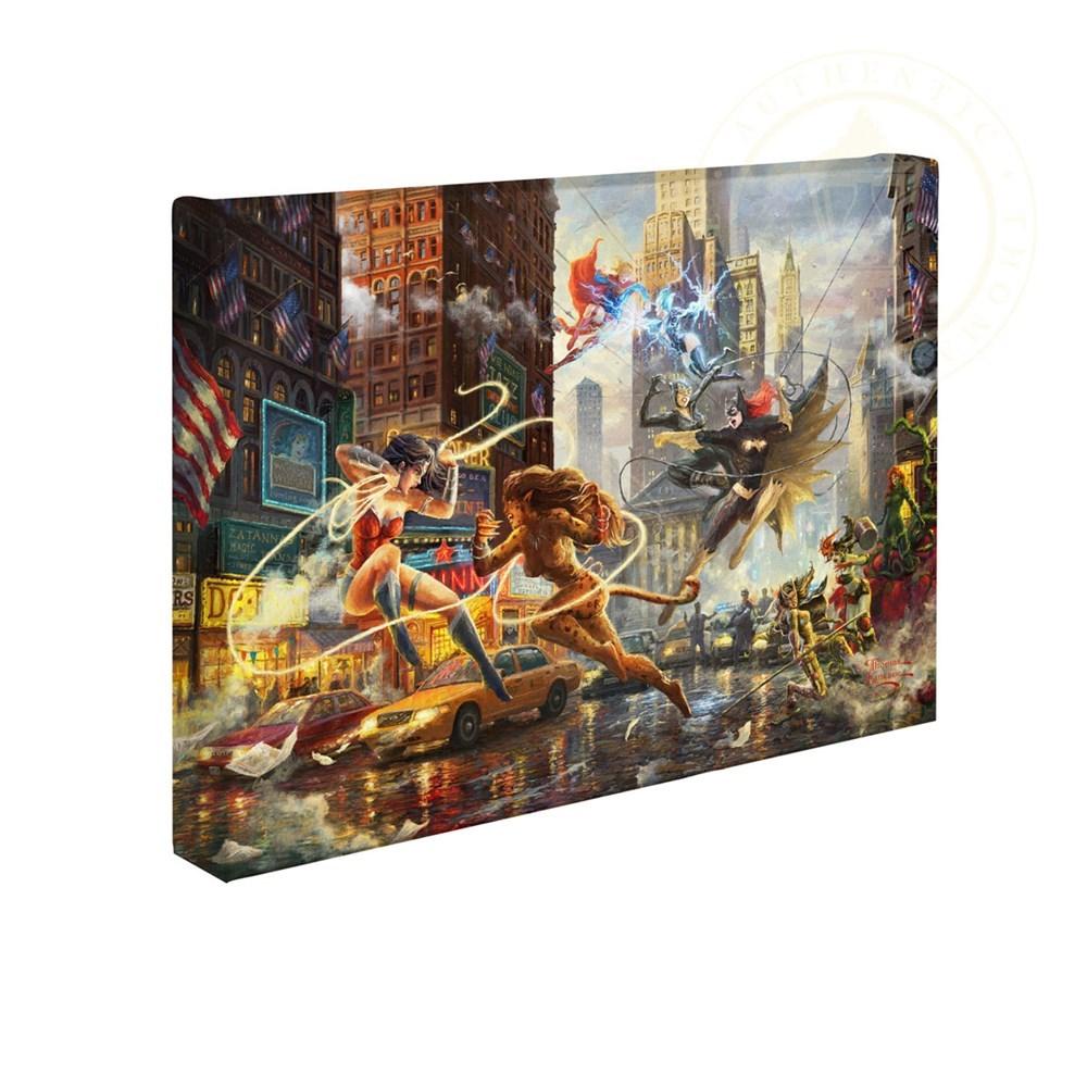 """【取寄せ】 DCコミックス スーパーヒーロー 大きさ 25.4cm x 35.5cm 絵画 絵 アート キャンバス インテリア 装飾 デザイン 壁 Thomas Kinkade トーマスキンケード [並行輸入品] Thomas Kinkade Studios DC Super Hero Fine Art The Women of DC 10"""" x 14"""" Gallery Wra画像"""